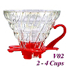 V02 Glass Coffee Dripper - Red (HG5357R)