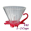 V01 Glass Coffee Dripper - Red (HG5358R)