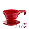 V01 Porcelain Coffee Dripper - Red (HG5533R)