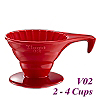 V02 Porcelain Coffee Dripper - Red (HG5534R)